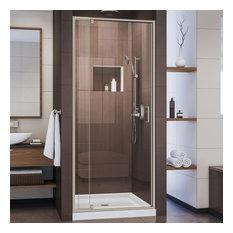"DreamLine DL-6215C-04CL Flex 32-36"" Wide Pivot Shower Door in Brushed Nickel"