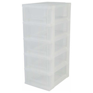 Contemporary Chest of Drawers, Hard Plastic With 5-Drawers, Ice White Design