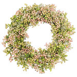 """Darby Creek Trading - Spring Pink & Green Rose Hip Berry & Wild Daisy Everyday Decor Wreath, 30"""" - Spring/Everyday Wreath"""