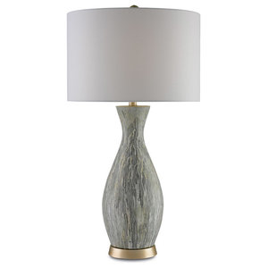 Currey & Co 6000-0049 Rana White Drip Glaze Terracotta Table Lamp