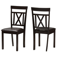 Rosie Modern and Contemporary Faux Leather Dining Chairs, Set of 2, Dark Brown