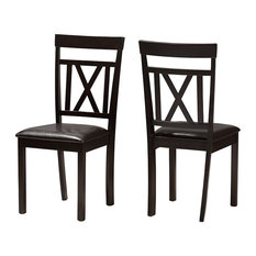Rosie Modern Dark Brown Faux Leather Upholstered Dining Chair Set of 2 by Baxton Studio