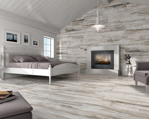 SaveEmail - Wood Look Tile Fireplace Houzz