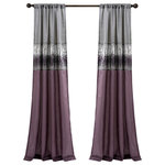 Lush Decor - Night Sky Window Curtain Panel Purple/Grey Single 42X95 - This unique design features a rod pocket on both the top and bottom allowing the panel to be hung from either end. Faux silk combined with sparkling sequins give this a modern look. The lining on the back combines to provide extra privacy and insulation.