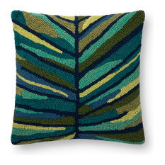 Loloi Green and Multi Color 18  x18   Accent Pillow, Poly Fill