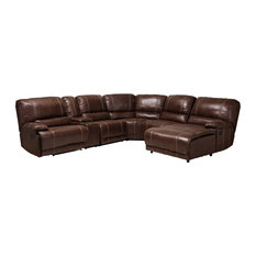 Dean Brown Faux Leather 6-Piece Sectional Recliner Sofa With 3 Reclining Seats