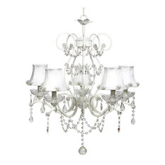 5-Light White Grace Chandelier With Pearl Burst Shades