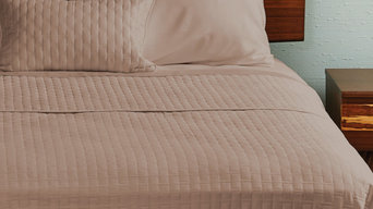 BedVoyage 100% Rayon Viscose Bamboo Quilted Coverlet, Champagne, Queen