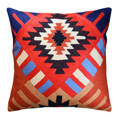 Tribal Aztec Southwestern Decorative Pillow Cover Hand Embroidered Wool 18x18""