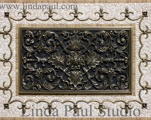 Ravenna Kitchen Backsplash Metal And Mosaic Tile Medallion Linda Paul Studio Tile
