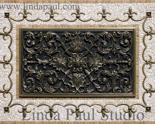 Ravenna Kitchen Backsplash Metal And Mosaic Tile Medallion   Linda Paul  Studio   Tile