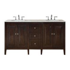 """68"""" Modern Double Sink Bathroom Vanity, Carrara White Marble Top"""