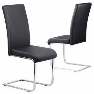 Modern Set of 2 High Backed Chairs, Black Faux Leather With Chrome Plated Legs
