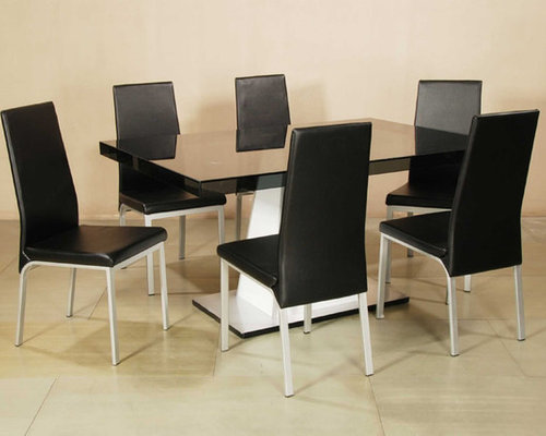 Elite Rectangular Wooden And Glass Top Leather Modern Table With Chairs