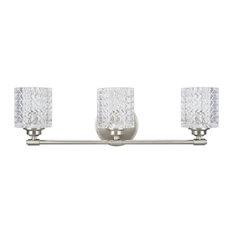 62058, 3-Light Metal Bathroom Vanity Wall Light Fixture, Brushed Nickel