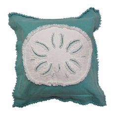 Coastal Sand Dollar Throw Pillow, White on Caribbean Blue