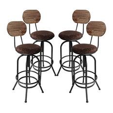 Adele Industrial Adjustable Stool Brown Fabric Seat/Rustic Pine Back Set Of 4