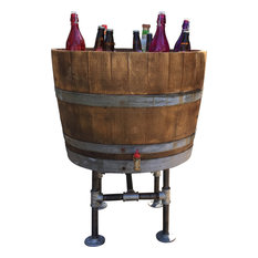 ladybagssf reclaimed wine barrel cooler with industrial pipe legs outdoor pots and planters alpine wine design outdoor