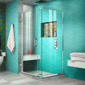 "DreamLine Unidoor Plus 33.5""x30.38""x72"" Hinged Shower Enclosure, Chrome"