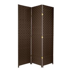 6' Tall Woven Fiber Outdoor All Weather Room Divider, 3 Panel, Dark Brown