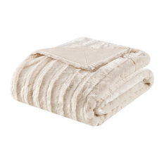 Solid Stripe Plaited Brushed Long Fur Knitted Throw, Ivory