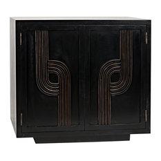 NOIR Furniture Deco 2 Door Sideboard Hand Rubbed Black With Gold