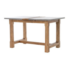 Augustine Skystone Farmhouse Pub Table, Aged Oak, Bluestone, Waxed Bleached Pine
