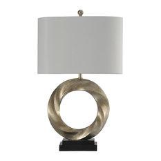 Laslo Contemporary Table Lamp, Silver Finish, White Hardback Fabric Shade