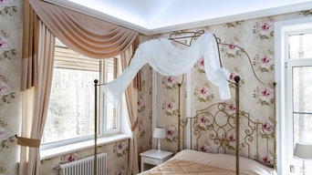 Спальня в светлых тонах.