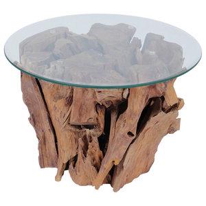 vidaXL Coffee Table With Teak Driftwood, 60 cm