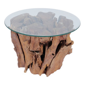 vidaXL Coffee Table With Teak Driftwood, 60 cm