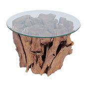 vidaXL Solid Teak Wood Coffee Table Glass Tabletop Living Room Side Tea Stand