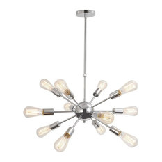 Modern Silver Hanging Ceiling Chandelier With 12 Lights Chrome Finish