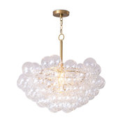 Bubbles Chandelier, Clear Natural Brass