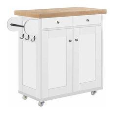 Modern 2-Drawer 1-Cabinet Storage Trolley Cart, Oak Wooden Worktop, White