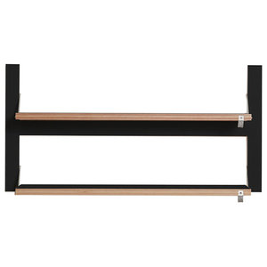 Fläpps Double Slim Birch Plywood Shelf, Black