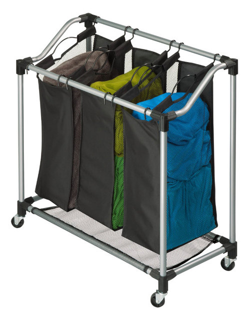 Angled Bars Deluxe Triple Sorter Contemporary Hampers