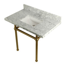 """36""""x22"""" Carrara Marble Vanity With Sink and Brass Legs"""