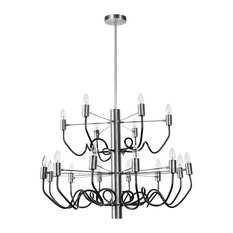 Barlow 18-Light Chandelier, Satin Chrome and Matte Black