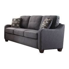 Acme Furniture   Acme Cleavon II 53790 Sofa With 2 Pillows, Gray Linen