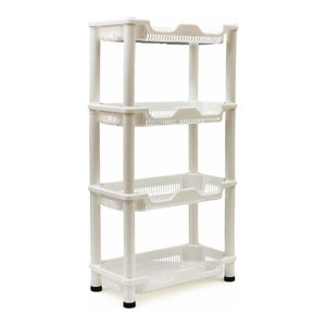 Modern Storage Stand, White Plastic with 4 Open Shelves for Storage, Rust Proof