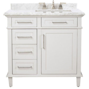 36 in. W x 22 in. D Bath Vanity with Carrara Marble Top with White Sink, White