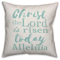 Christ the Lord is Risen Teal Script 16x16 Throw Pillow Cover