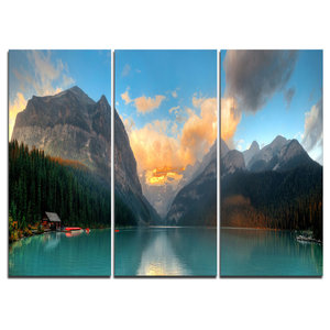 Lake Louise Sunrise Banff Park Modern Seascape Wall Art Contemporary Prints And Posters By Design Art Usa Houzz