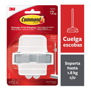 Command Broom Holder Wall Mount, White, Easy On, Easy Off, 1 gripper
