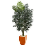 Nearly Natural - 6.5' Paradise Artificial Palm Tree, Orange Planter - Situated in a stunning orange square vase, the artificial paradise palm tree has rich green fronds that spread upwards and out in a splendid display. It's the perfect decor for your sunroom.  With an orange square vase included, the artificial paradise palm tree has several trunks that extend upward to reveal light and dark green rich fronds. The foliage is arranged in a seemingly wild but coordinated way for a natural look, and it'll sit perfectly in your sunroom surrounded by other greenery.