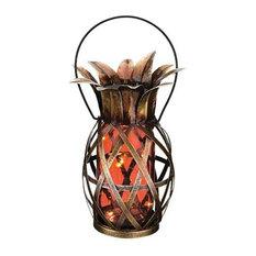 Pineapple outdoor lighting houzz inthegardenandmore orange glass and metal solar glass indooroutdoor pineapple lantern aloadofball Gallery