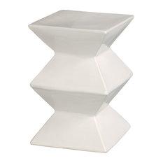 emissary emissary zigzag white garden stool accent and garden stools