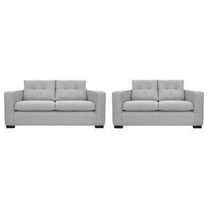 Aspen 2-Piece Sofa and Loveseat Set, Ash Grey
