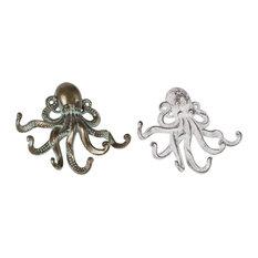 Beach Style Iron Octopus Wall Hooks, 2-Piece Set